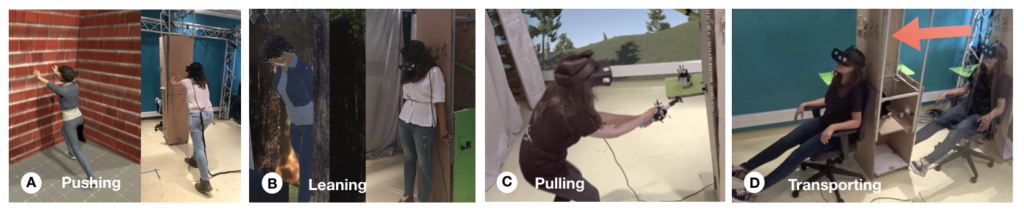 This teaser demonstrates the use of CoVR in four different scenarios. In all these scenarios, the user is wearing the Oculus Rift S Head-Mounted Display. On the first one, the user is pushing on one of CoVR's panels, while its virtual avatar pushes on a brick wall. The second picture shows the user and her avatar leaning. The physical version is leaning over CoVR's panels while the avatar is leaning on a chimney (reference to Harry Potter). The third picture shows the user being pulled by CoVR. The background of the picture shows a park/a forest, and reflects the user's viewpoint in virtual reality. It suggests that the user is flying above this forest. The fourth picture shows the user being transported from one location of the room to another one. An arrow shows the displacement of CoVR.